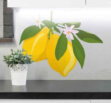 Increíble vinilo frutas de rama de limonero para que decores tu cocina de forma original y bonita. Elige las medidas ¡Envío exprés!