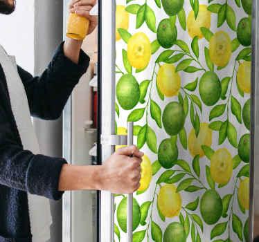 Cubra a porta da sua frigorífico com este vinil autocolante decorativo brilhante de limão e lima. Com este produtovocê estaria mudando a aparência da porta de sua frigorífico.