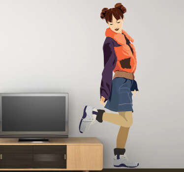 Young Casual Girl Wall Sticker