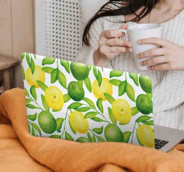 Autocollant de fruits de citron pour la décoration d'ordinateur portable. Couvrez la surface arrière de votre ordinateur portable