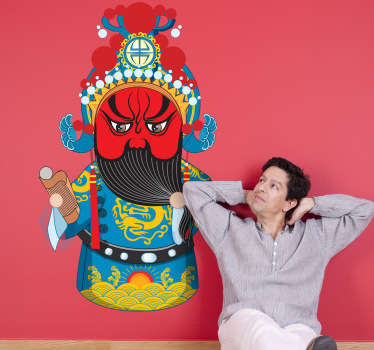 Rood gezicht duivel aziatisch sticker