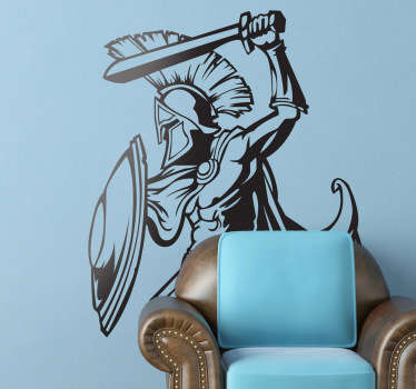 Dieses coole Wandtattoo ist an den Erfolgsfilm 300 angelehnt und zeigt die typische Kampfpose der Spartaner.