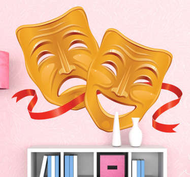 Wall decal which illustrates the classic drawing of a happy and a sad mask, representing comedy and tragedy.