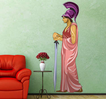 This wall sticker illustrates one of the most important gods of ancient Greece. This goddess is Athena, guardian of the city of Athens.