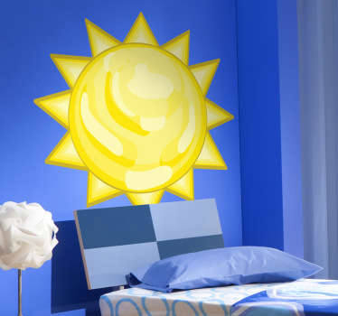 Wall stickers for kids - illustration of a bright sun. Ideal for decorating childrens play areas or bedrooms.