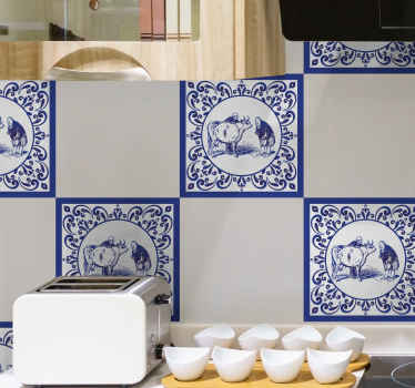 Men and cow tile vinyl sticker to decorate your space, this can be decorated on kitchen, bathroom and other places of interest.