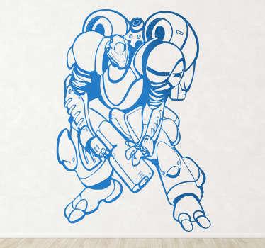 Naklejka dekoracyjna uzbrojony super robot