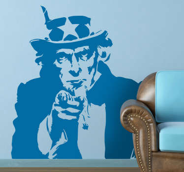 Yes, you! Your home needs you! A room decal illustrating Uncle Sam. Brilliant monochrome wall sticker to personalise your own space.