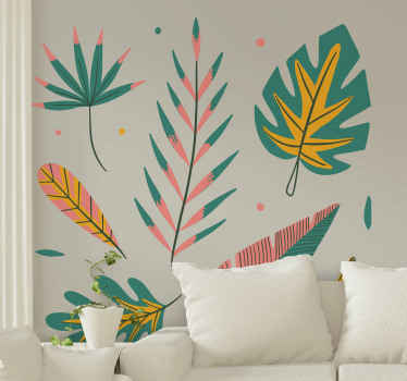 Exotic plant in the room plant wall decal to bring a very lovely look an aura on a space. The design contains different colorful leaves and flowers.