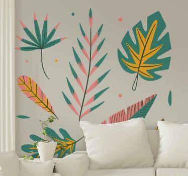Vinilo de plantas de la habitación para darle un aspecto muy encantador y un aura. El diseño contiene diferentes hojas y flores de colores.
