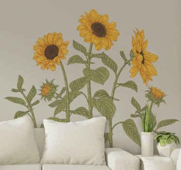 Increíble vinilo de flores para pared con el que podrás llenar tu casa de naturaleza. Elige las medidas que desees ¡Envío a domicilio!