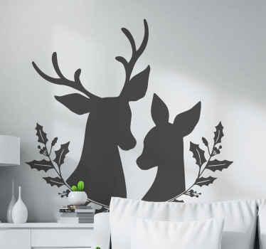 Un precioso vinilo de animales para decorar la habitación de tus hijo o la tuya propia. Diseño con dos ciervos rodeados de dos plantas ¡Envío exprés!