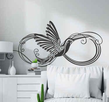 Hermoso vinilo de pájaros de silueta de colibrí formando un infinito para que decores tu salón o tu dormitorio ¡Elige color y medidas!