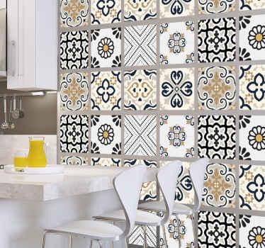 あなたの家に抽象的なタッチを与える古典的な色であなたの家を飾るための保守的な灰色がかったセメントタイルステッカー