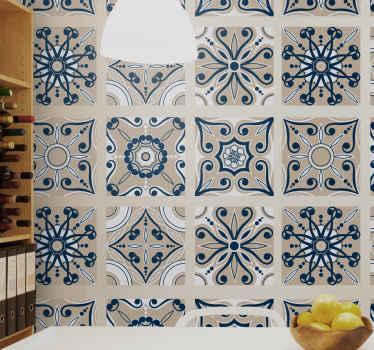 Fantásticos azulejos vinílicos de imitación de cemento azules para que decores tu casa con un diseño original y único ¡Fáciles de colocar!