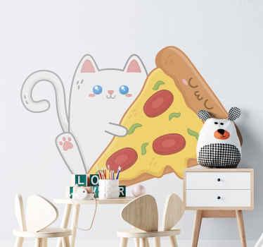 adhesif avec l'illustration d'un chat tenant un gros morceau de pizza, beau design qui remplira de tendresse la chambre de votre enfant