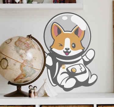 宇宙服を着たコーギー犬のイラストが描かれた子供向けステッカー。冒険に満ちたタッチでお子様の部屋を飾るのに最適です。