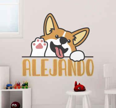 コーギー犬が手を振っている子供部屋のステッカーとカスタマイズ可能な名前。この高品質のステッカーを今すぐ注文すると、子供の名前になります。