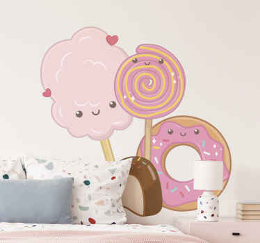 Kids sticker with the illustration of candies such as donuts, cotton candy, lollipops and others, that will fill with magic your child's room.