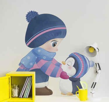 ペンギンと遊ぶかわいい女の子の漫画イラストが描かれたキッズウォール壁画ステッカー。お子様の部屋に貼るのに最適です。