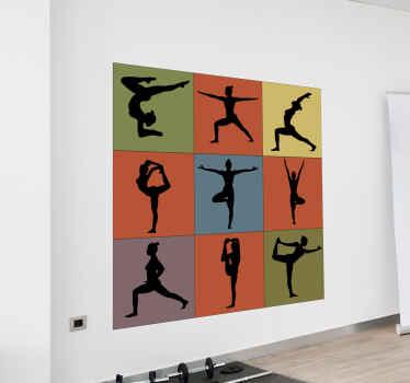 Denna olika yoga positioner vägg vinyl klistermärke skulle vara bra att dekorera ett yoga utrymme. För hem- och offentliga yogaplatser.