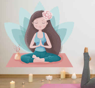 Lotus flower relax wall sticker - It is easy to apply on wall and also can be taken off anytime. Suitable to decorate any space of your choice.