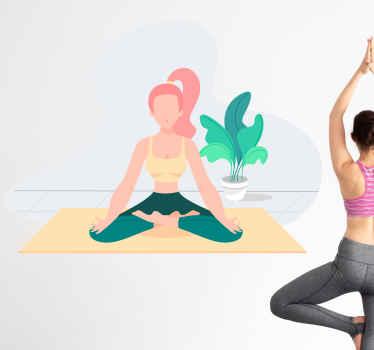 Ennuyé de vos murs élégants dans votre studio de yoga? Pourquoi ne pas leur ajouter de la couleur avec ce superbe adhesif de sport de yoga!