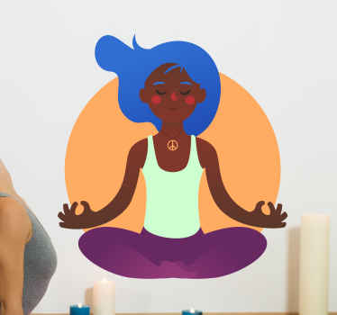 Yoga wall decal which features an image of a girl with bright blue hair and a hippie necklace meditating in an orange circle.