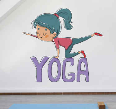 """Yogaväggklistermärke som har en söt bild av en tjej som gör en yogaställning ovanpå ordet """"yoga"""". Registrera dig för 10% rabatt."""