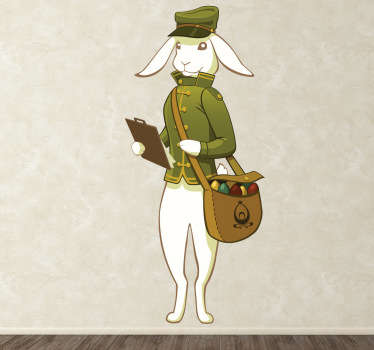 A fun and playful design of an Easter bunny prepared to deliver eggs. Creative and original decal from our collection of rabbit wall stickers.