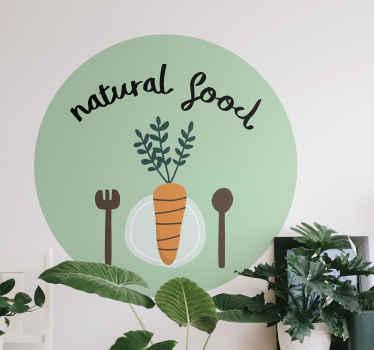 にんじんワークショップステッカー付きの自然食品-この装飾的なビーガンフードデザインのイラストで、あらゆるスペースのビーガングリーンライフを説明します。