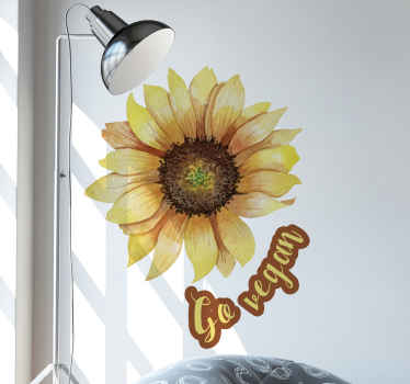 Go vegan text with sunflower sticker - A decorative sticker for vegans to express themselves and label their space. Made with quality vinyl.