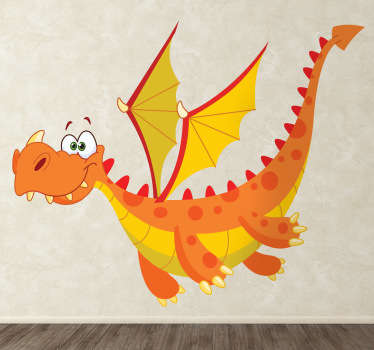 An animated fairy tale sticker of a flying dragon with sharp teeth and big wings! This dragon decal is perfect for the little ones at home.