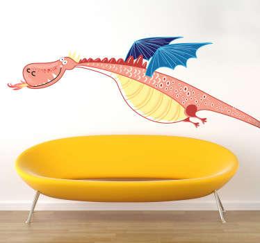 A curious dragon wall sticker illustrating this friendly pink creature that isn't scaring anyone. Brilliant fairy tale sticker for the little ones of a big smiling dragon flying through the air.