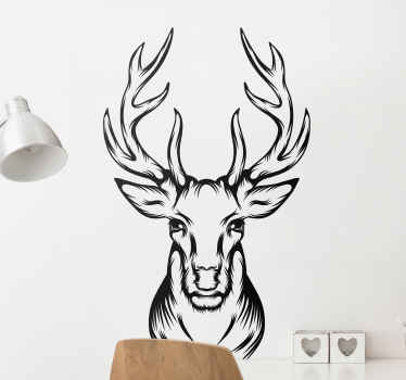 If you love wild animals, then you can have this lovely illustrative decal of stag head on your space. Really easy to apply, removable and original.