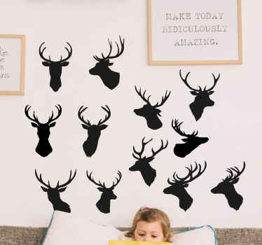 Sets of little stag head animal decoration for your wall, furniture and other flat surfaces. Perfect to beautify the space of children and other space
