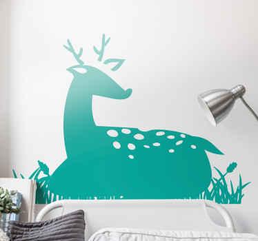 Illustration animal silhouette une étape portant sur un champ d'herbe. Un joli sticker animal pour la décoration de la chambre des enfants