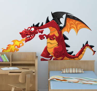 An amazing dragon wall sticker illustrating this huge winged monster spitting breathing from his mouth. A friendly kids decal for their room!