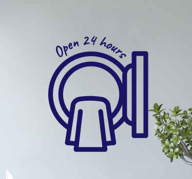 Laundry room service sticker design. It design illustrates a washing machine with cloth and it is inscribed with the text ''Open 24 hours'.