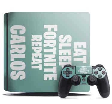 "Skin para PS4 Fortnite: encantador diseño de Fortnite con nombre que cita ""comer, dormir, fortnite y repetir"" en color verde ¡Envío exprés!"