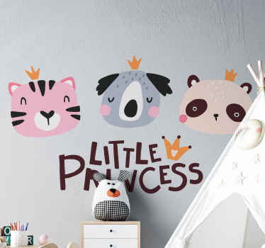 Sets of cute little panda animal decal. The panda are customized with text that reads ''Little princess. Made with quality vinyl and easy to apply.