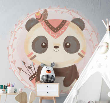 Add a lovely touch on the space of little one with this cute boho panda sticker on pink background. Manufactured with quality vinyl and durable.