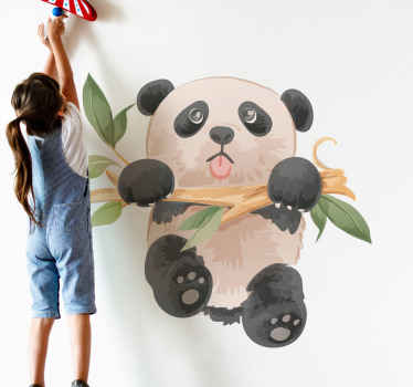 See this panda animal sticker illustrated to be hanging on a tree branch. Cute, fun and interesting bedroom sticker decoration for children.