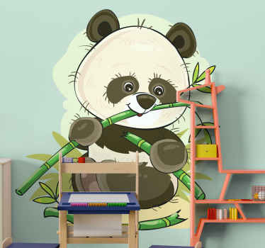 Beautiful panda animal decal illustrated on a sugarcane farm eating sugarcanes.  Available in various sizes and can be customized.