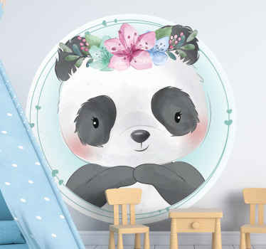Panda with lotus flowers wild animal decal. A magnificent illustration design from our collection of funny panda animal sticker.