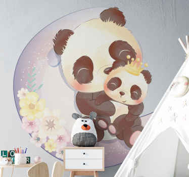 Happy and fun panda animal wall decal to beautify the room or space of children. The design illustrates two pandas on the moon, a parent and baby.