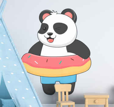 Comic panda in a donut wild animal decal - Happy illustration that would create an interesting and fun atmosphere on the space of your kid.