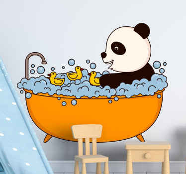 A panda animal decal illustrated to be sitting on a bathtub and just chilling. See the panda on bubble bathtub and having a nice time.