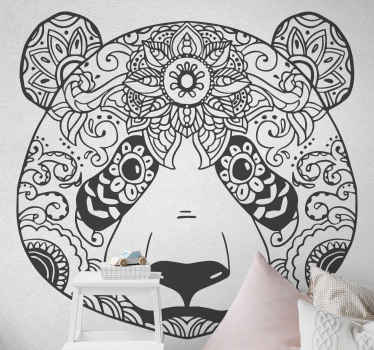 Ethnic ornamental panda wild animal sticker. Enhance the look on any space with this amazing design. Easy to apply, durable and adhesive.