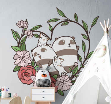 Easy to apply decorative panda animal decal. The design is illustrated together with ornamental wreath. Good idea to beautify children space.